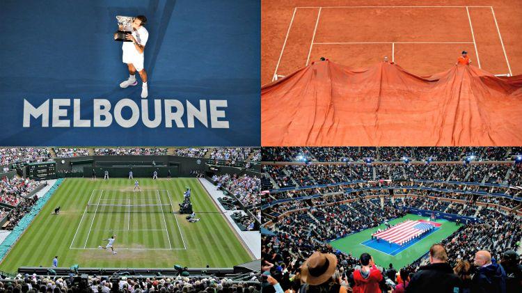 Les quatre tournois du grand chelem : L'Open d'Australie, Roland Garros, Wimbledon et l'US Open
